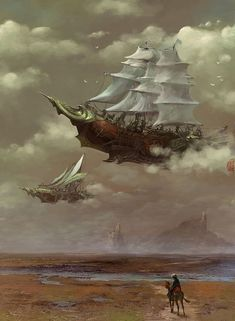 steampunk spaceships / air ships sailign ship designs in the sky, mysterious lands The Corsair (the ship in the background) criminally under used design. setting inspiration for steampunk games Steampunk Kunst, Steampunk Airship, Dieselpunk, Steampunk Drawing, Steampunk Men, Steampunk Gadgets, Steampunk Wedding, Steampunk Clothing, Steampunk Fashion