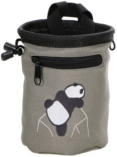 Panda Rock Climbing Chalk Bag w/ Zipper Pocket, Grey