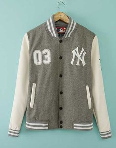 1b5c4dd74a8c80 2017 Grey White NY Letters Baseball Jacket Girls Varsity Jackets