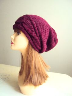 Super Slouchy Beanie Hat Hand Knit Oversized Cable Knit Slouchy Burgundy Hat Chunky Beanie Women Men Spring Fall Winter Fashion Accessories by GrahamsBazaar