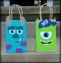 Monster University Inspired Party Bags by SBCDesign on Etsy Monster University Birthday, Monster Birthday Parties, First Birthday Parties, Monster Party, Halloween Birthday, 2nd Birthday, Birthday Ideas, Monsters Inc Baby Shower, Party Bags