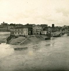 Italy Roma Panorama of Tiber Island Old NPG Stereo Photo 1900