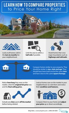 Learn How to Compare Properties to Price Your Home Right Infographic - Amy Sims  #RealEstate #Realtor #BuyAHome #SouthOrangeCounty #HomeStaging #HomeSelling