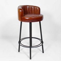 chaise de bar en cuir de chèvre marron et métal noir | chaise de ... - Chaise De Bar Industriel