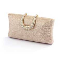 Glitter Weave Satin Minaudiere Evening Bag
