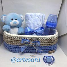 Baby basket #fiodemalha #trapillo #crochet #babyshower #babyboy #fiodemalhaecologico