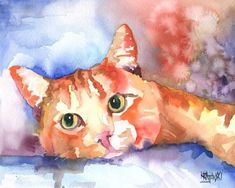 Tabby Cat Art Print of Original Watercolor Painting - 11x14 Cat Art About the Print: This Tabby Cat open edition art print is from an original painting by Ron Krajewski. Art print measures 11x14 inches and is printed on museum quality heavy weight textured fine art paper.