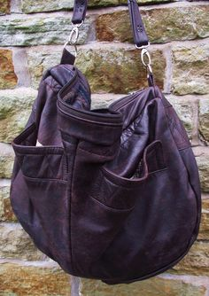 Large brown upcycled leather bag by jessywood on Etsy
