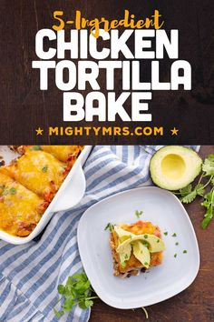 This 5-Ingredient Chicken Tortilla Bake is an awesome easy weeknight dinner idea. All you need is 5 minutes to prep and then bake! A delicous, chicken casserole. Made without tortillas. Layer rice and quinoa, cooked chicken (rotisserie, grilled, leftover, canned, any cooked chicken!), salsa, cream cheese and a Mexican cheese blend. Add optional healthy avocado slices, tortilla chips, cliantro and hot sauce, corn and/or black beans. A simple chicken dinner with Mexican flavor. Freezer friendly. Chicken Tortilla Bake, Tacos, Mexican, Baking, Ethnic Recipes, Food, Bakken, Essen, Meals
