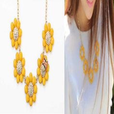 Resin gem yellow sunflowers flowers adorn bee gilded wholesale fashion 2014 short necklace free shipping US $6.66