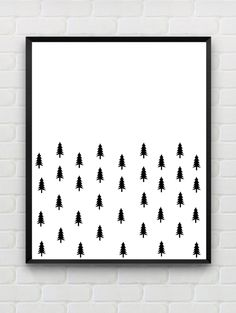Scandinavian Poster Printable Art nursery wall art tree art print black white…