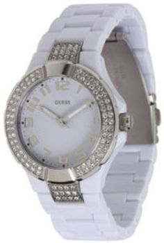 GUESS U95198L1 Status In-the-Round Watch - White and Silver GUESS. $65.95. 10 year warranty. White dial. Water resistant. Analog. Women's trends. Save 31% Off!