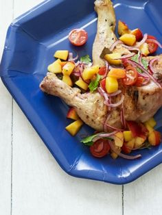 Grilled Chicken Legs with Peach Salsa along with Almond Cherry Biscotti is on the Menu this week - click to see why.