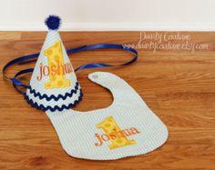 Boys First Birthday Hat Bib and Shirt  Aqua by DaintyCouture