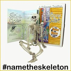 A Halloween Tradition!  It's September 1st, so it is the first day of the Halloween Season! Start your celebration off right by helping us name our The Skeleton in the Closet! Use #NameTheSkeleton to let us know what we should call it! The Skeleton in the Closet gives treats and plays tricks! This set includes the book and doll. Fantastic gift idea for kids and adults!! Click the link in the bio to order your The Skeleton in the Closet today!