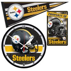 Pittsburgh Steelers NFL Ultimate Clock Pennant and Wall Sign Gift Set
