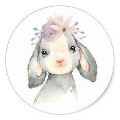 Cute Watercolor Baby Lamb with Flowers Classic Round Sticker Easter Drawings, Baby Animal Drawings, Cute Drawings, Lamb Drawing, Sheep Drawing, Watercolor Illustration, Watercolor Paintings, Watercolour, Ostern Wallpaper