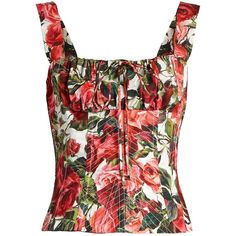Dolce & Gabbana Rose-print cotton-poplin bustier top ($1,395) ❤ liked on Polyvore featuring tops, pink print, mixed print top, print top, pink bustier top, corset style tops and dolce gabbana top