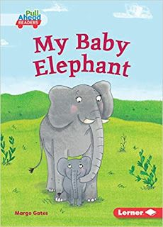 KISS THE BOOK Jr.:   My Baby Elephant by Margo Gates.  EARLY READER. Lerner, 2019.  $22 (HC), $7 (PB).  9781541558649  BUYING ADVISORY: Pre-K - ADVISABLE  AUDIENCE APPEAL: AVERAGE  A baby elephant and its parent go through their day on the jungle.  One sentence on each page with a single word changing each time. Ready made for the earliest of readers. A great way to support them on their reading journey.