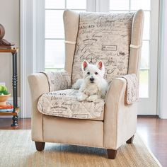 Snuggle up with your pet on these script-printed furniture covers. They have ties to hold them in place and help prevent pet hair, spills, and dirty paws from ruining your upholstery.