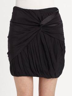 Elizabeth And James Black Shirred Silk Skirt