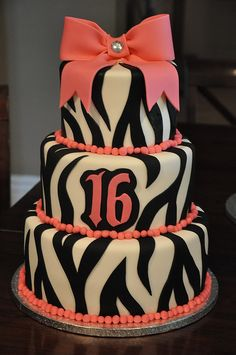 Zebra Sweet 16 Cake hot pink instead of coral