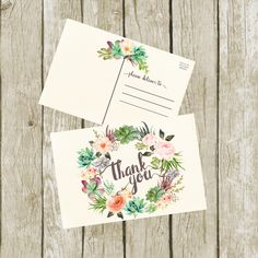 Thank You Postcards. Succulent Thank you Cards Printable