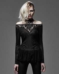 Punk Rave Dark Muse Top Womens Black Gothic Lace Collar Steampunk Witch