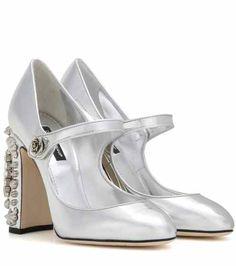 Embellished metallic leather Mary Jane pumps | Dolce & Gabbana