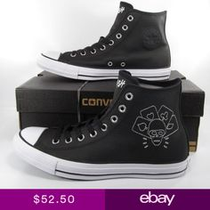 8d2855b51a8b Converse The Clash Chuck Taylor All Star Sneakers Black Leather 155074C  RARE!