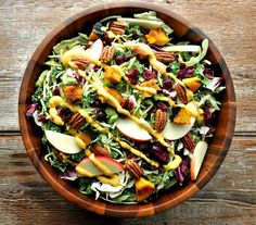 Fall Harvest Salad with Pumpkin Goddess Dressing by the seasonedmom #Salad #Pumpkin