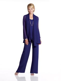 Three-piece chiffon pant suit, sleeveless tank bodice features double layered waistline trimmed with hand-beading, pants feature elastic waistband and back zipper, matching jacket with long sleeves an
