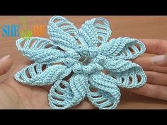 Crochet Folded Petal Flower Popcorn Stitches Center Tutorial 57 Part 1 of 2 - YouTube