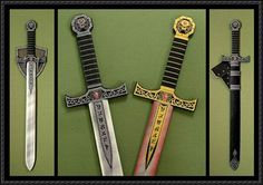 Awesome swords and wall display swords made from printing onto cardstock and gluing together!! also shields