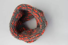 "Beginner free knit cowl pattern (infinity scarf) using Lion Brand Wool-Ease Thick and Quick in ""Monarch."" Sizes include toddler, child and adult."