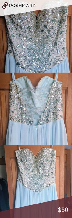 Prom dress Light blue prom dress with gemstone top. Runs big, will fit a size 4-6. Terani Couture Dresses Prom