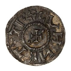 Coin, round, at centre within circle of dots a cross pattee with beads in two angles; text around.