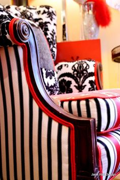 Vintage Arm Chairs Repurposed in Red White and Black Designers Guild Fabric