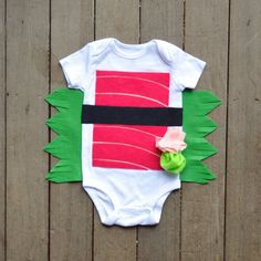 Could also be adapted to an adult t-shirt.  [sushi baby Halloween costume]
