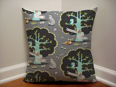 Woodland Nursery Pillow Cover, Grey Fox Pillow Cover, Les Amis Grey Fox, Baby Boy Nursery Decor, Grey Pillows on Etsy, $12.00