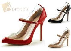 High Heels Pumps 11,5cm D'Orsay Stilettos Abendschuhe Mary Jane Italy Lack Klar