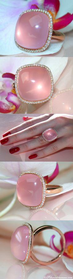 Amazing: Rose Quartz Diamond Ring, 20,83 cts. RG18K - Visit: schmucktraeume.com - Like: https://www.facebook.com/pages/Noble-Juwelen/150871984924926 - Contact: info@schmucktraeume.com