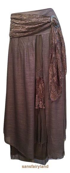 Pretty Angel Size XL Brown Boho Skirt Lined Sheer Ruffles Antique Buckle 27114  #PrettyAngel #PeasantBoho