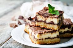 chocolate cream cheese bars by Arzamasova. chocolate cream cheese bars on a white background. Cream Cheese Bars, Cream Cheese Brownies, Chocolate Cream Cheese, Chocolate Cheesecake, Köstliche Desserts, Delicious Desserts, Dessert Recipes, Yummy Food, Food Cakes