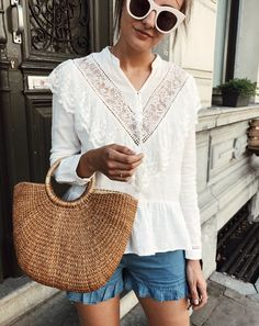 white frilly top