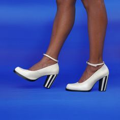 Clara court is a stunningly simple court shoe with sculpted toe shape, ankle strap and striped heel detail. Court Shoes, Toe Shape, Ankle Strap, Sculpting, Stiletto Heels, Peep Toe, Glamour, Preston, Detail