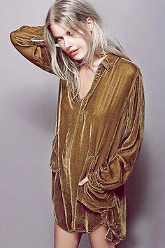 Cozy Velvet Long Sleeve Shirt Dress
