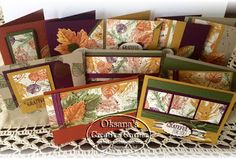 """2015  made 10 cards using One Sheet wonder template. Actually it is 4 sheet wonder, as there is a template for 3 additional card stock colors used. 2014-2016 In Color 8-1/2"""" X 11"""" Cardstock & Classic Ink Pads Kit - 133673,  Vintage Leaves Photopolymer Bundle 140235  $43.25,  Gorgeous Grunge Clear-Mount Stamp Set130517  $18.00, Gold Glitz Dazzling Details - 133755, Gold Stampin' Emboss Powder - 109129,  Gold Cording Trim139618 Price: $5.00,"""