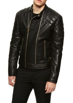 This Versace pebbled leather jacket is the essence of what it is to be a sexy man, with a zipper!