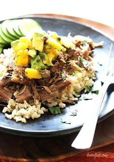 Slow Cooked Jerk Pork with Caribbean Salsa is a delicious pork roast, marinated overnight with fresh citrus juice, garlic, and jerk seasoning. Topped with a bright Caribbean salsa of fresh mangoes, avocado and cilantro. Crock Pot Slow Cooker, Slow Cooker Recipes, Crockpot Recipes, Cooking Recipes, Healthy Recipes, Clean Eating, Healthy Eating, Healthy Food, Slow Cooking